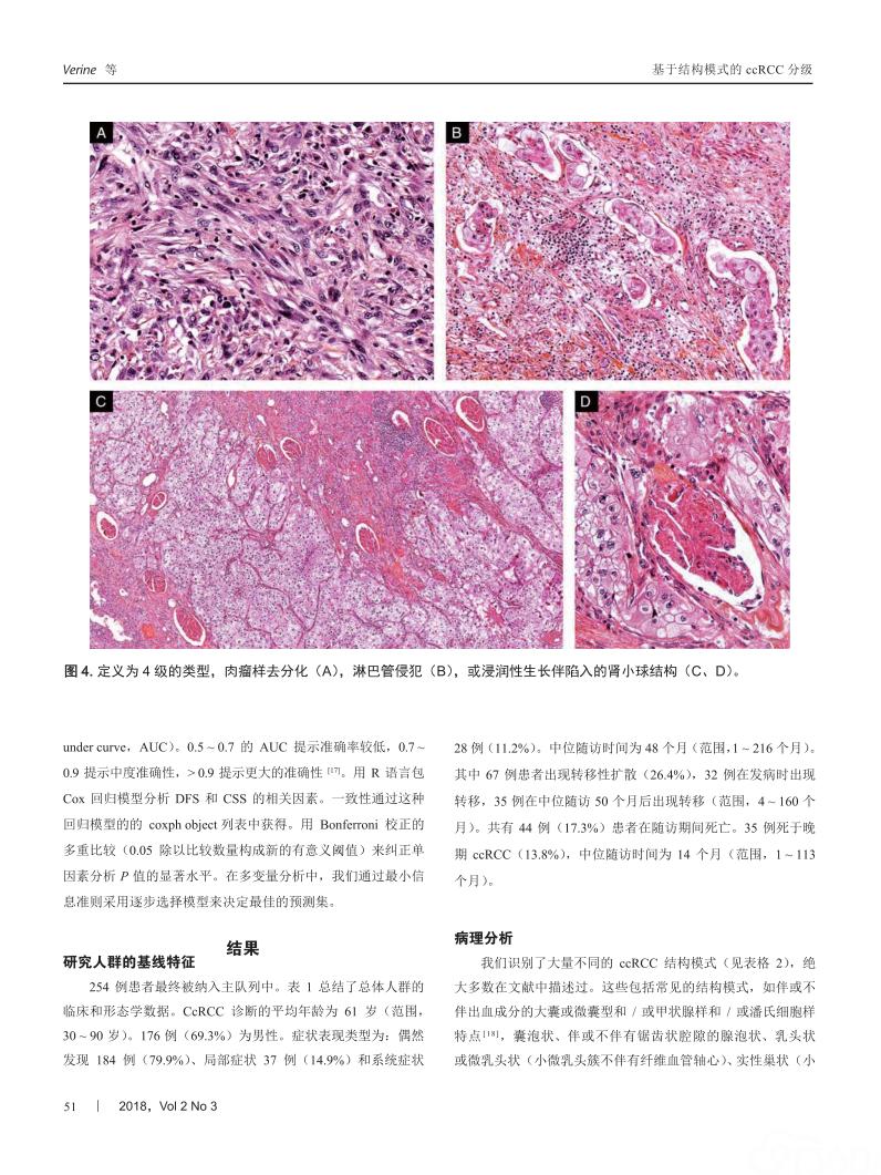 结构模式是透明细胞肾细胞癌预后评估的一种相关形态分级系统